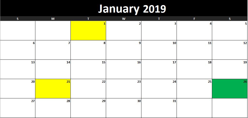 task manager template calendar