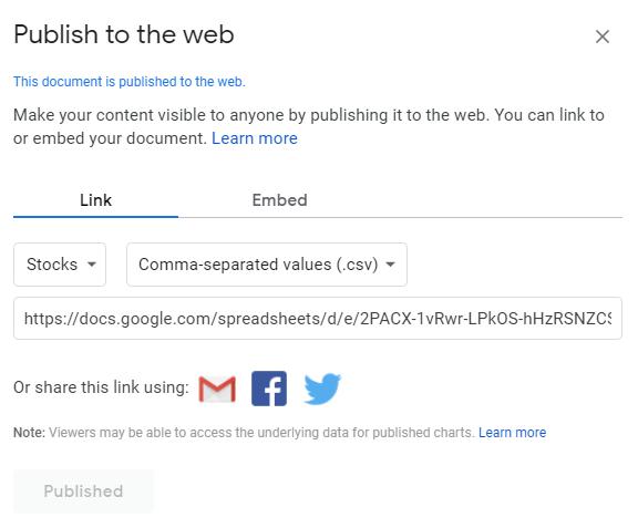 publish to web google sheets
